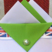 White and Green Pocket Hankie With Green Flap and Pin